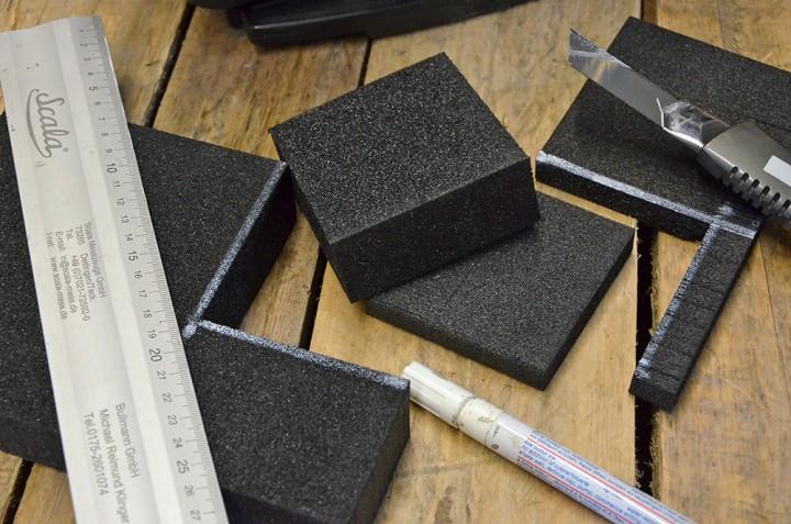 Tutorial - Polsterflächen aus unterschiedlichen Schaumstoff-Sorten für Koffereinlagen