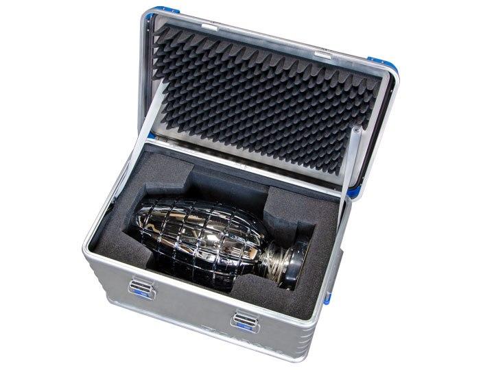Aluminiumbox mit Schutzpolsterung für Kristalllampen