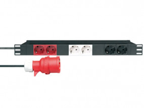"Rack power strip 19"" 1U with 3 seperate circuits"