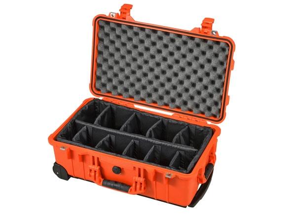 Peli Case 1510 with divider set orange